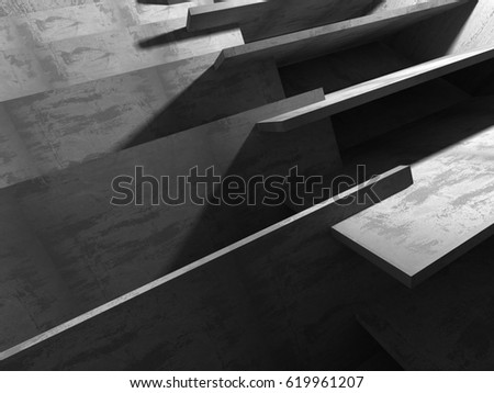 Abstract concrete architecture dark background. 3d render background #619961207