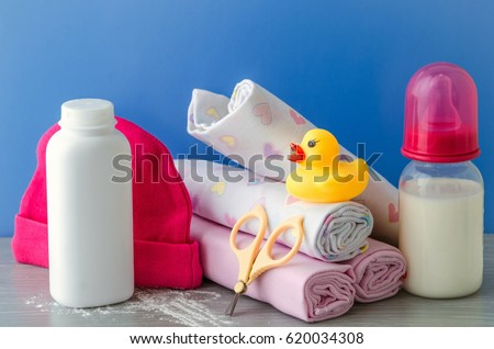 accessories for baby diapers on white background, banny, a bottle of water, cream #620034308