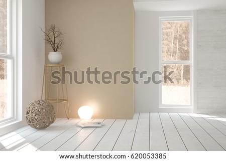 White empty room with vase. Scandinavian interior design. 3D illustration #620053385