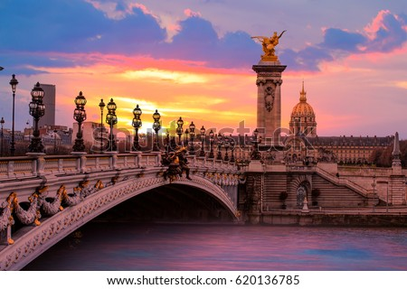 Alexandre III Bridge at amazing sunset - Paris, France Royalty-Free Stock Photo #620136785