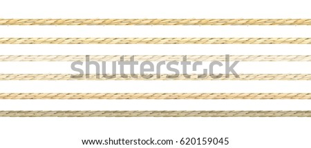 Set or organic look linen string vector in 6 types of coloring. Seamless pattern of neat realistic flax material texture cords. #620159045