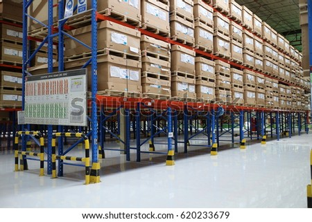 Rayong Thailand , April 13 - 2017 : Warehouse shelf in factory building for keep material and goods supply customer in Thailand #620233679