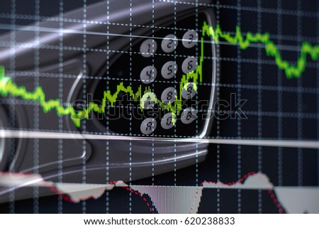 Financial data on a monitor as Finance data concept. Analytics Report Status Information Analysis Chart Graph in digital screen. Business analyzing financial statistics displayed on the tablet screen #620238833