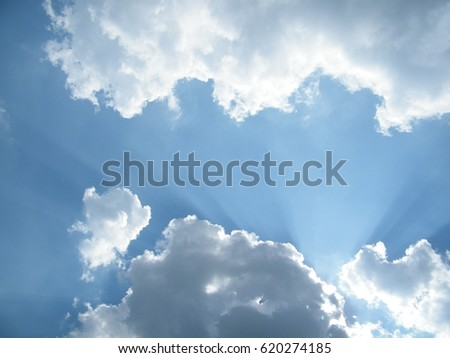 rays of sun and clouds and sky in summer #620274185
