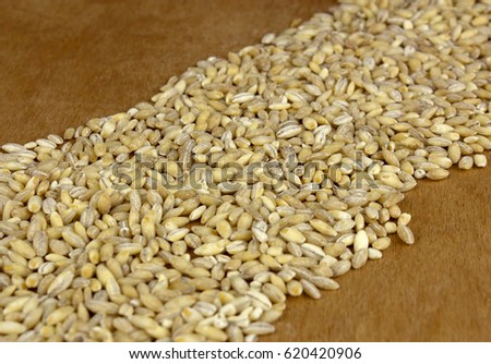 Raw organic pearl barley on the wooden table #620420906