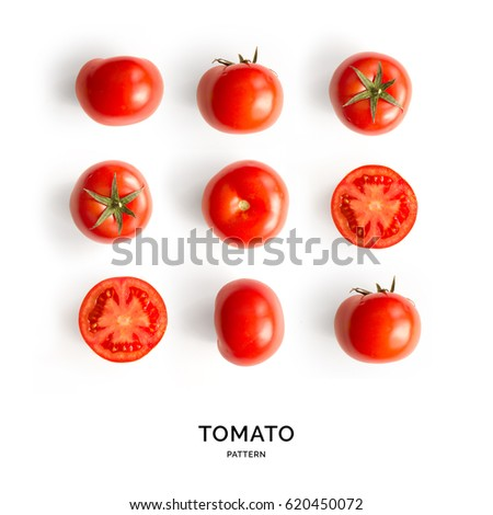 Seamless pattern with tomatoes. Abstract background. Tomato on the white background. Royalty-Free Stock Photo #620450072