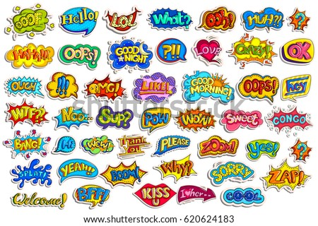 vector illustration of sticker collection for comic style chat bubble for different word #620624183
