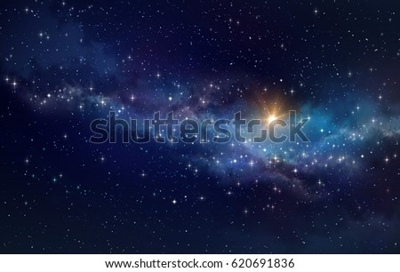 High definition galaxy background, bright light and stars shining in a milky way #620691836