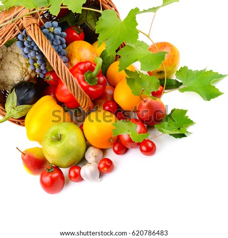 vegetables and fruits in a basket isolated on white background #620786483