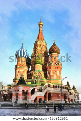 Colorful painting of St Basils cathedral #620912651
