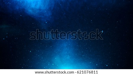View of universe with stars and amazing colorful and deep blue dark