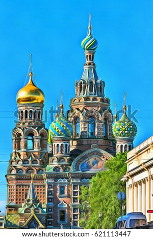 Colorful painting of Church of the Savior on Blood #621113447