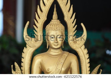 Golden metallic Thai buddha model sculpture with decoration element form emboss #621122576