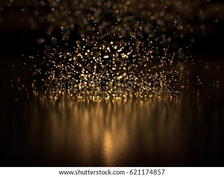 Glitter lights background. Gold and black. De-focused, bokeh.