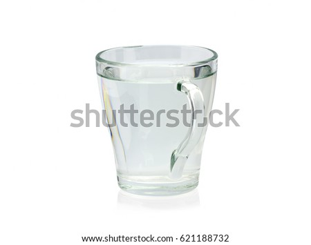 Transparent glass with water on a white background. Isolated #621188732