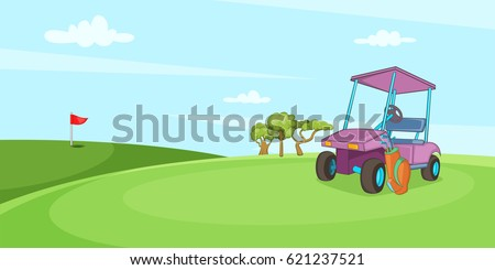 Field of golf horizontal banner concept. Cartoon illustration of field of golf  horizontal banner for web