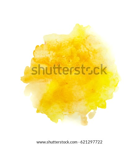 Color, yellow - orange splash watercolor hand painted isolated on white background, artistic decoration or background Royalty-Free Stock Photo #621297722