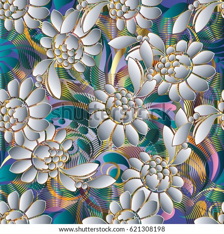 Modern floral  seamless pattern. Blue vector background wallpaper illustration with vintage 3d white flowers, swirl leaves, geometric shapes, figures, radial circles and abstract 3d flowers  ornaments #621308198