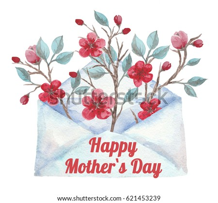 Watercolor envelope with flowers, Happy Mother`s Day