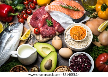 Balanced diet food background. Organic food for healthy nutrition. Ingredients for cooking. Top view  stone table. #621455834