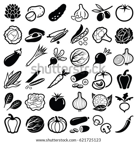 Vegetables icon collection - vector silhouette illustration  Royalty-Free Stock Photo #621725123