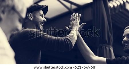 Men Hands High Five Meeting Greeting #621756968