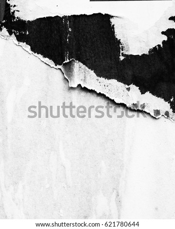 Black white old grunge ripped torn vintage collage posters creased crumpled paper surface texture background placard / Empty space for text Royalty-Free Stock Photo #621780644