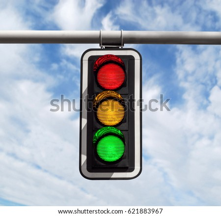 Traffic light against blue sky background with Clipping Path