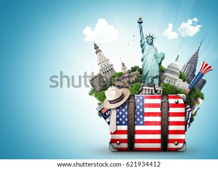USA, vintage suitcase with American flag and landmarks #621934412