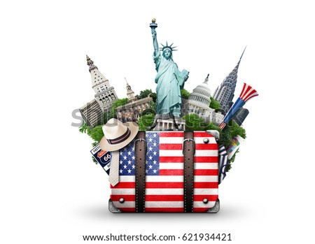 USA, vintage suitcase with American flag and landmarks Royalty-Free Stock Photo #621934421