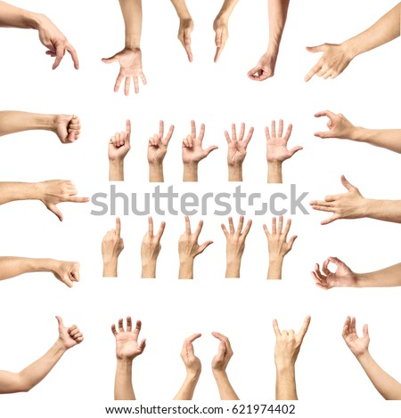 Multiple male caucasian hand gestures isolated over the white background, set of multiple images #621974402