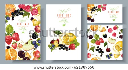 Vector fruit and berry banners set with seamless pattern. Design for juice, ice cream, natural cosmetics, sweets and pastries filled with fruit, dessert menu, health care products. With place for text #621989558