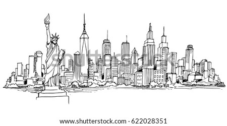 New York vector drawing,hand drawn,sketch style,isolated.-vector illustration.