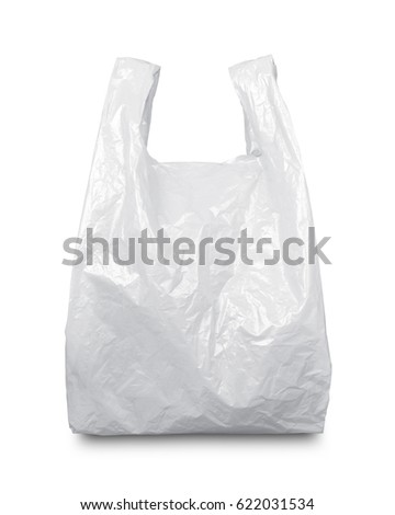 White plastic bag isolated on white with clipping path #622031534