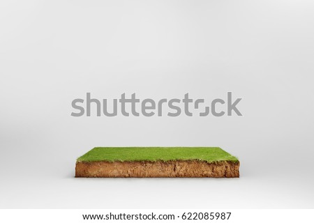 cubical cross section with underground earth soil and green grass on top, cutaway terrain surface with mud and field isolated Royalty-Free Stock Photo #622085987