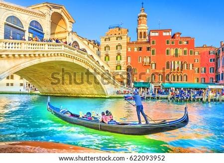 Venice, Italy - 14 April, 2017: Gondola on Grand Canal with Rialto Bridge, Venice, Italy. #622093952