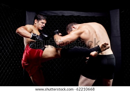 Mixed martial artists fighting - kicking Royalty-Free Stock Photo #62210668