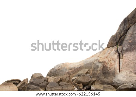 Cliff stones isolated white background, Objects with Clipping Paths for design work #622156145