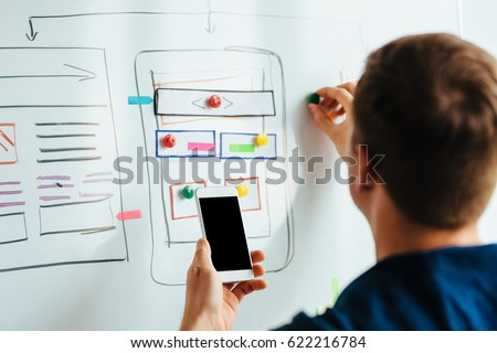 Web designer planning responsive website