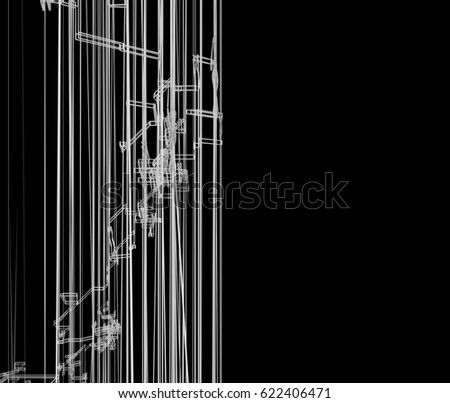 3D rendering abstract architecture wire frame #622406471