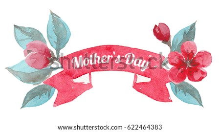 Watercolor ribbon with flowers, Mother`s Day