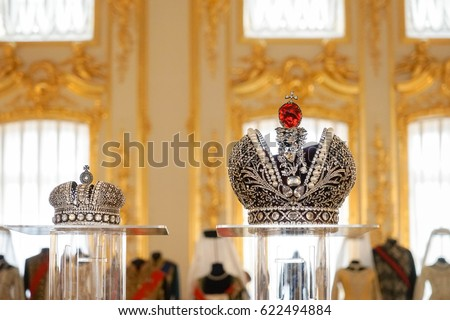 St. Petersburg, Russia - Apr 12, 2017 : Big Imperial Crowns used for the movie props in Russian Matilda (2017 film) displayed at Catherine palace. These are film props only not the real crowns.