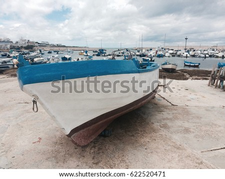 South Italy, fishing boats for fishermen. Italian landscape. Torre a Mare, Bari. #622520471