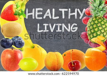 Fresh Mixed fruits in blackboard background Healthy lifestyle living eating dieting #622594970