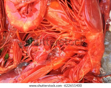 Raw king prawns shrimps close up #622651400