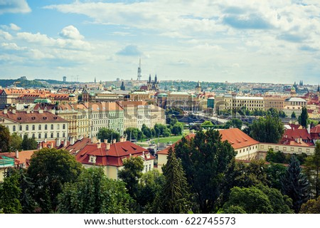 Beautiful panorama view of Prague and its architecture #622745573