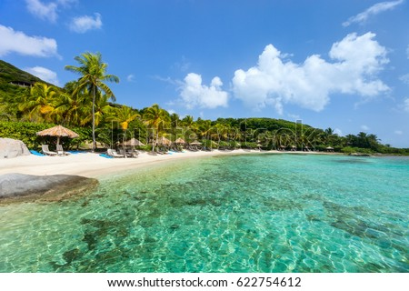 Beautiful tropical beach with palm trees, white sand, turquoise ocean water and blue sky at British Virgin Islands in Caribbean #622754612