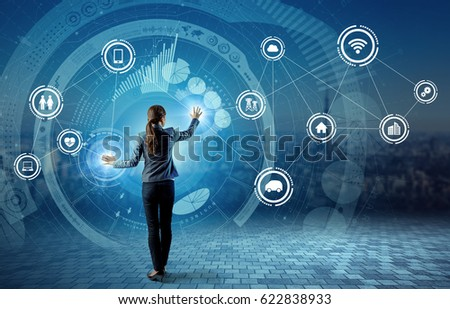 IoT(Internet of Things) concept. Fintech(Financial Technology). ICT(Information Communication Technology). Smart City. Digital Transportation. mixed media abstract.