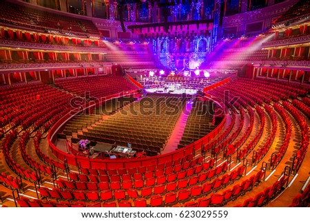 Amphitheater and scene at Royal Albert Hall. London, Great Britain. Royalty-Free Stock Photo #623029559