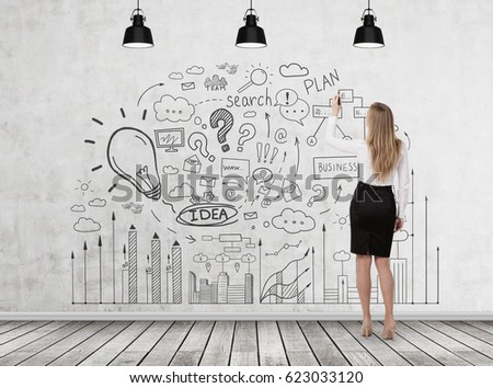 Rear view of a blond businesswoman wearing a black skirt drawing a business idea sketch on a concrete wall in a room with a wooden floor. #623033120